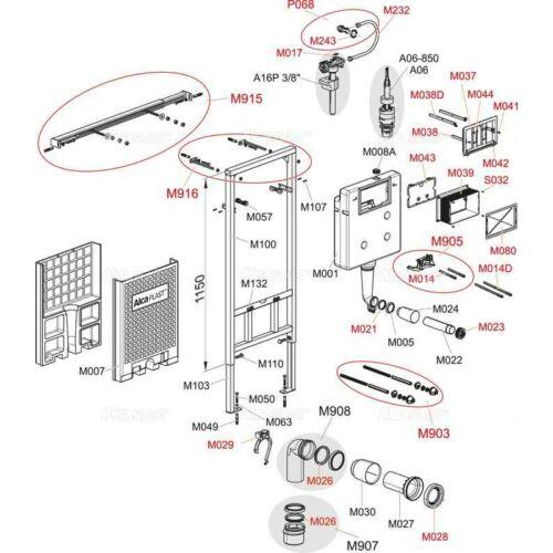 Alcaplast falon belüli wc tartály öblítőszelep ( A100-101-102 HÖZ )