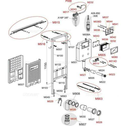 Alcaplast falon belüli wc tartály öblítés vezérlő ( A100-101-102-11-115 HÖZ )