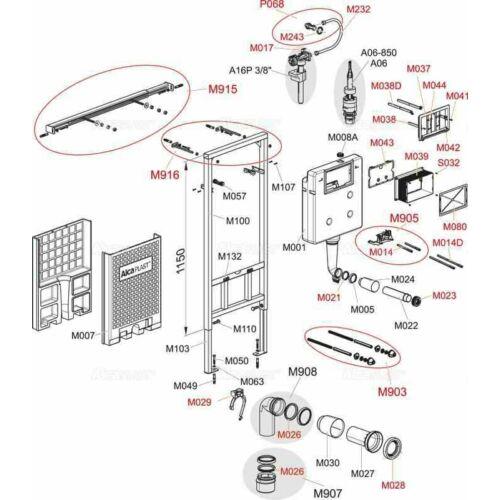 Alcaplast falon belüli wc tartály öblítőszelep ( Slim tartályhoz )