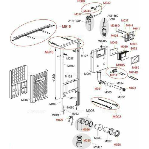 Alcaplast falon belüli wc tartály keret fedlap AM101-hez
